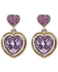 Effy Sterling Silver & 18k Yellow Gold Pink Sapphire & Amethyst Heart Double Drop Earrings - Purple