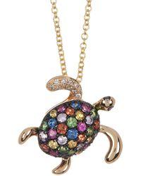 Effy 14k Yellow Gold Multi-color Diamond & Gemstone Turtle Pendant Necklace - Green