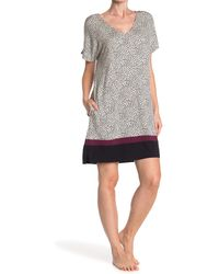 Donna Karan V-neck Short Sleeve Nightshirt - Multicolor