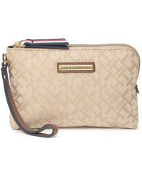 Tommy Hilfiger Logo Wristlet Pouch In Khaki Tonal /co At Nordstrom Rack - Natural