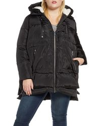 Sam Edelman Faux Shearling Trim Hooded Puffer Jacket - Black