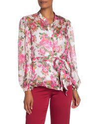 Keepsake Oblivion Floral Tie Long Sleeve Top - Pink