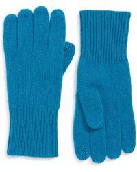 Halogen (r) Rib Knit Cashmere Gloves - Blue