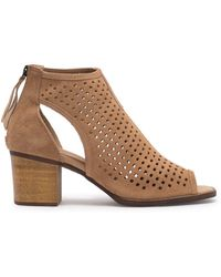 Dirty Laundry Tessa Suede Perforated Peep Toe Bootie - Natural
