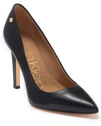 Calvin Klein Brady Leather Pointed Toe Pump - Wide Width Available - Black