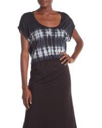 Go Couture Tie Dye Cap Sleeve Tee - Black