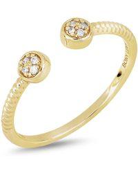 Bony Levy - 18k Yellow Gold Diamond Detail Disc Cuff Ring - 0.03 Ctw - Lyst