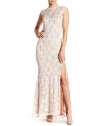 Jump - Cap Sleeve Sequin Lace Gown - Lyst