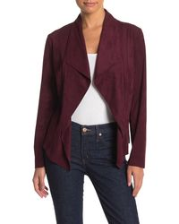Philosophy Apparel Drape Front Faux Suede Jacket (petite) - Purple