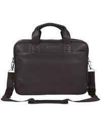 Ben Sherman Premium Karino Leather Double Compartment Laptop Case - Brown