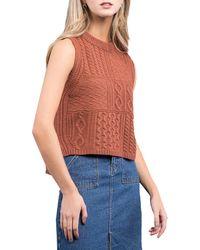 Blu Pepper Cable Knit Tank Top - Orange