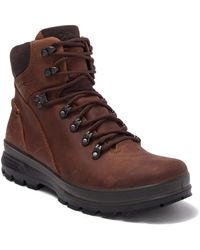 Ecco Rugged Track Leather Plain Toe Boot - Brown