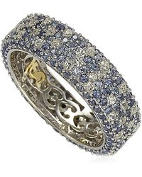 Suzy Levian Sterling Silver Pave Blue Sapphire & Created White Sapphire Ring