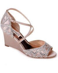 a9c73107d4d Lyst - Badgley Mischka Embellished Strappy Wedge Sandal (women) in ...