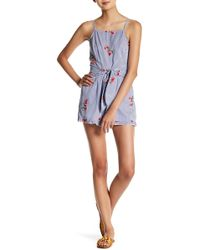 Oober Swank - Belted Embroidered Romper - Lyst