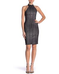 Bebe - Metallic Knit Halter Dress - Lyst