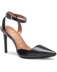 Calvin Klein - Raffaela Snake Embossed Leather Wraparound Stiletto Sandal - Lyst
