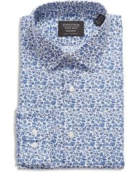 Nordstrom Traditional Fit Floral Stretch Non-iron Dress Shirt - Blue