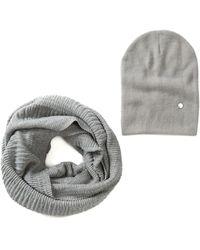 Modena - Extra Soft Knit Accordion Infinity Scarf & Beanie Set - Lyst