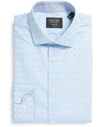 Nordstrom Nordstrom Trim Fit Geometric Non-iron Dress Shirt - Blue