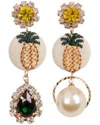 Cara - Rhinestone Mismatched Pineapple Dangle Earrings - Lyst