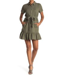 Velvet Heart Elodie Tie Waist Chambray Shirt Dress - Green