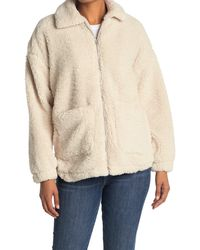 Thread & Supply Faux Shearling Teddy Zip Up Coat - White