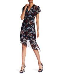 Anna Sui - Birds & Roses Crepe V-neck Dress - Lyst
