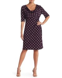 Connected Apparel - Draped Cowl Neck Polka Dot Dress - Lyst