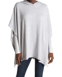 Joan Vass Brushed French Terry Hooded Poncho - Gray