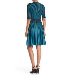 Nanette Lepore Striped Fit & Flare Cocktail Dress - Blue