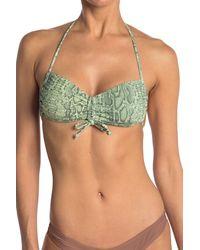 VYB - Rem Snake Printed Cinched Bandeau Bikini Top - Lyst