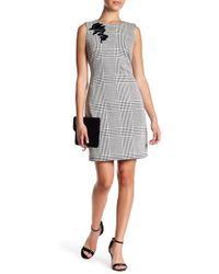 Sharagano | Sleeveless Embroidered Check Print Dress (petite) | Lyst