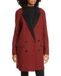 Veronica Beard Senna Houndstooth Wool & Cashmere Coat - Red