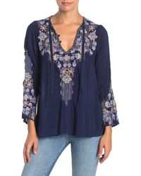 Johnny Was Tanya Embroidered Long Sleeve Top (petite) - Blue
