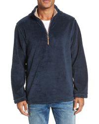 True Grit Pebble Pile 1/4 Zip Pullover - Blue