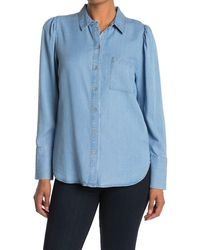 Laundry by Shelli Segal Puff Sleeve Blouse - Blue
