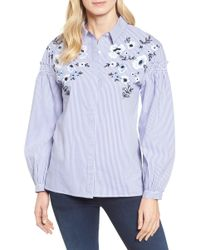 Halogen - Embroidered Button Down Shirt (petite) - Lyst