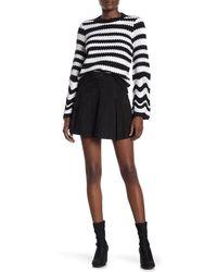 Alice + Olivia Lee Suede Box Pleated Mini Skirt - Black