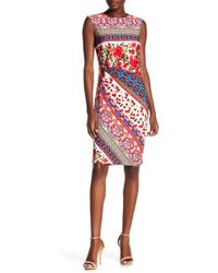 Chetta B - Extended Cap Side Print Dress - Lyst