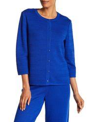 St. John | 3/4 Sleeve Knit Wool Blend Cardigan | Lyst