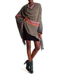 Saachi - Herringbone Pattern Wool Blend Wrap - Lyst