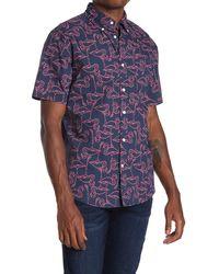 Joe Fresh Flamingo Print Short Sleeve Shirt - Blue