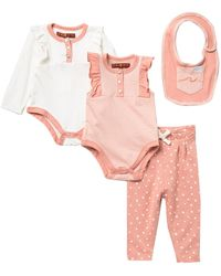 7 For All Mankind 4-piece Bodysuits, Leggings & Bib Set (baby Girls) - Pink