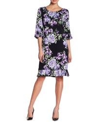 Connected Apparel | Ruffled Floral Patterned Dress | Lyst