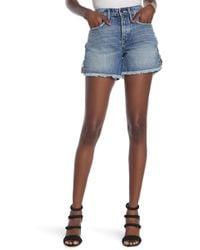 GOOD AMERICAN The Lattice Cut Off Denim Shorts - Blue