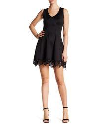 Jump Crochet Lace Fit & Flare Dress - Black