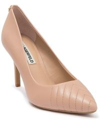 Karl Lagerfeld Roulle Quilted Pointed Toe Pump - Natural