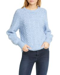 La Vie Rebecca Taylor Cable Knit Wool Blend Pullover - Blue