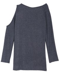 Go Couture One Cold Shoulder Sweater - Blue